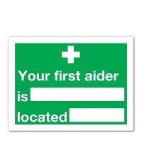 First Aider Adhesive Sign