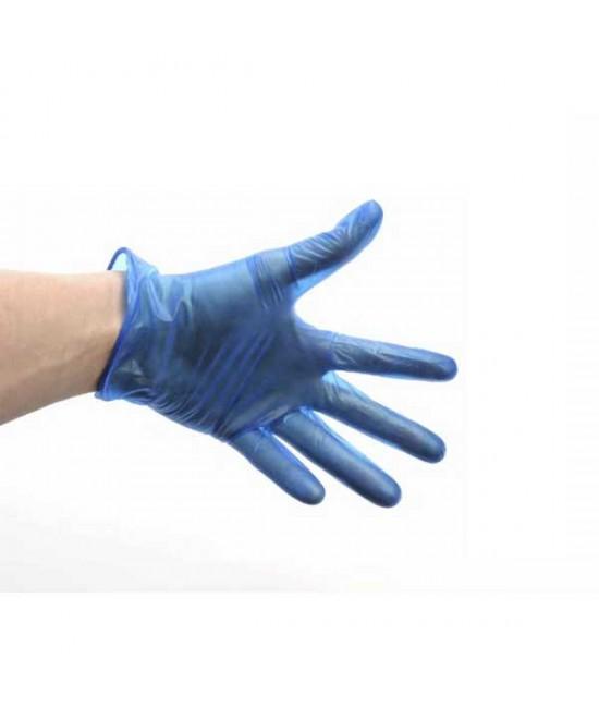 Blue Lightly Powdered Vinyl Gloves