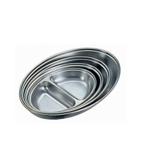 Stainless Steel Oval Vegetable Dishes Two Division